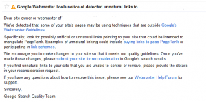 google unnatural links notice